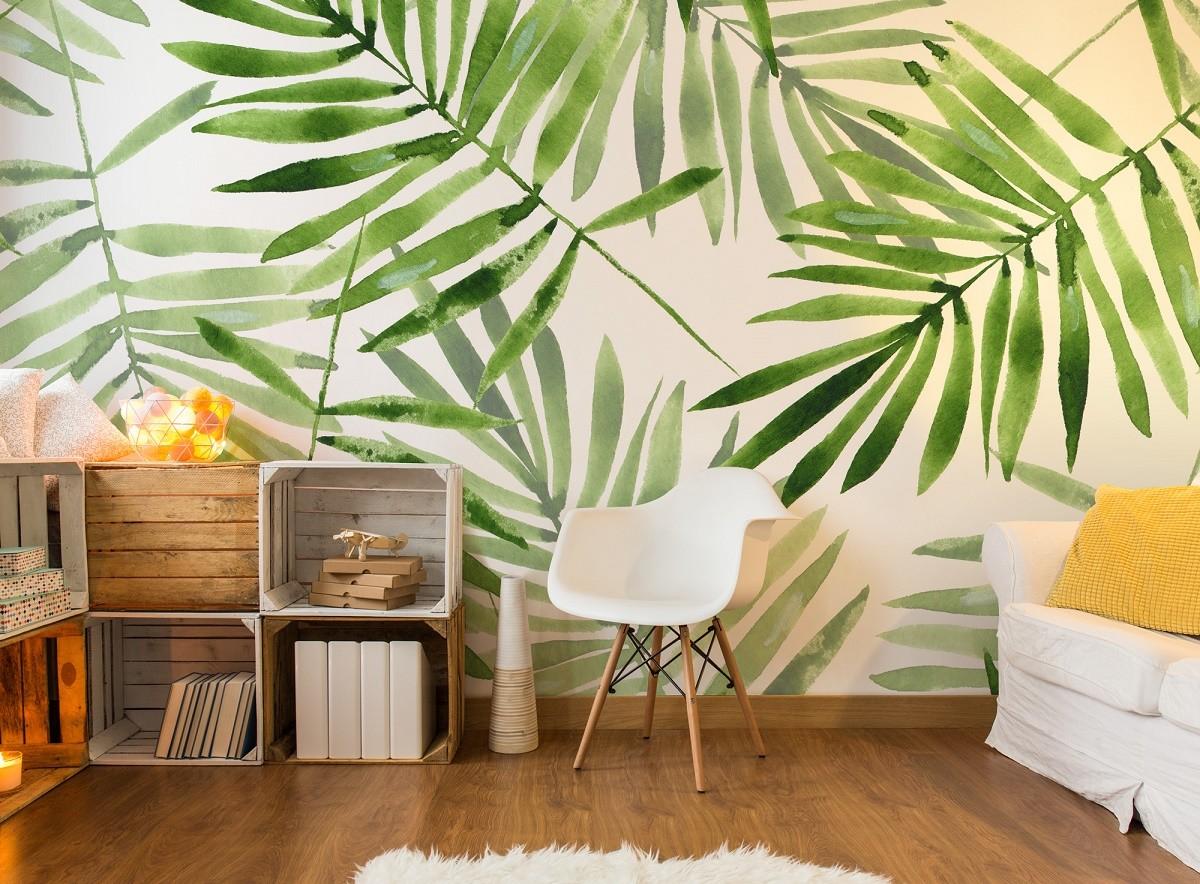 A tropical wallpaper can make your living room feel fresh. Source: Decoracion