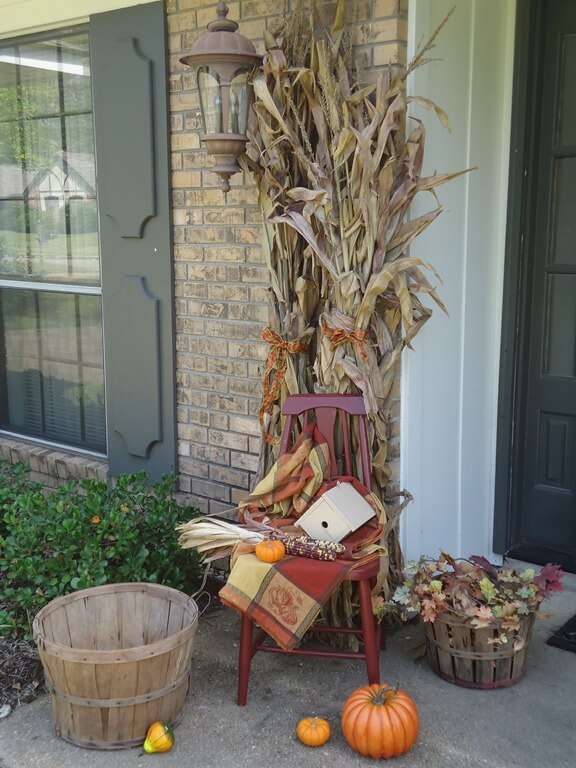 Corn stalks are a cheap and versatile decor option