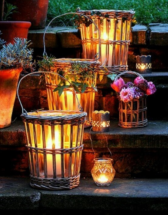 Little light up basket decor for your front steps