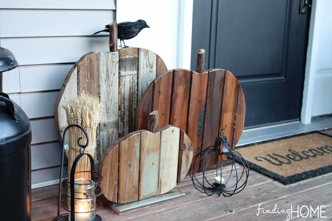 Wooden pumpkins add a rustic flair to your decor