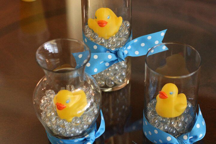 Even baby boys can have blue DIY centerpieces.