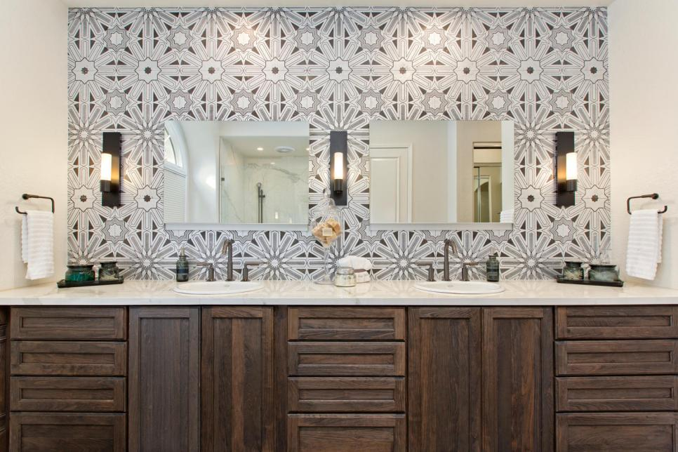 Tile and wood is a beautiful combination. Source: HGTV