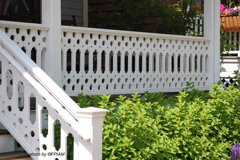 This Victorian-inspired deck railing is very stylish. Source: Fanhouse