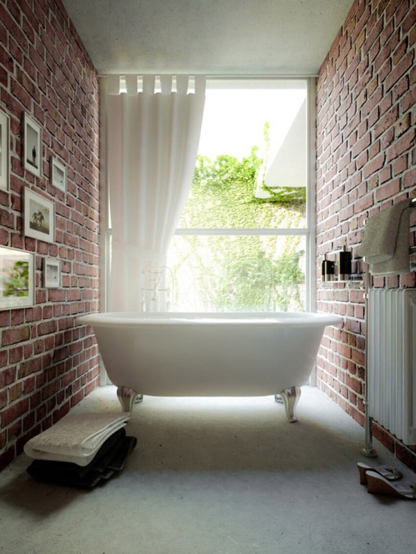 Opt for exposed brick instead of tile in your bathroom.
