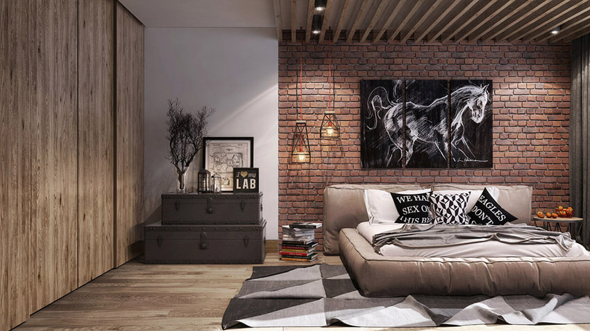 Using exposed brick against your headboard adds texture to your bedroom.
