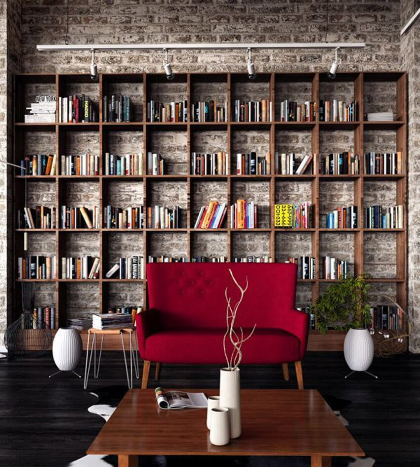 Exposed brick adds character to a home library.