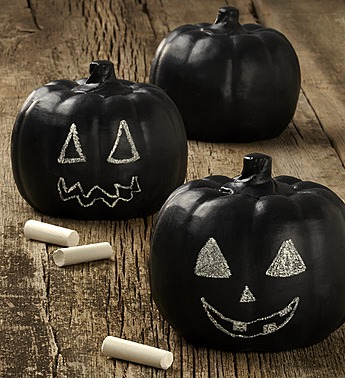 Chalk painted pumpkins can be a great table decor piece