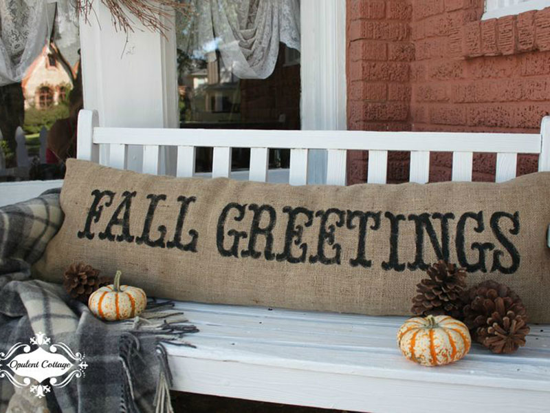cozy fall greetings pillow