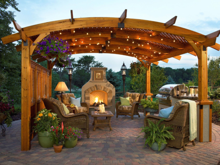 A pergola is perfect to create a shaded area. Source: HGTV