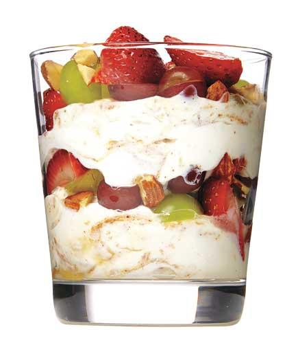 almond butter, yogurt, and fruit parfait