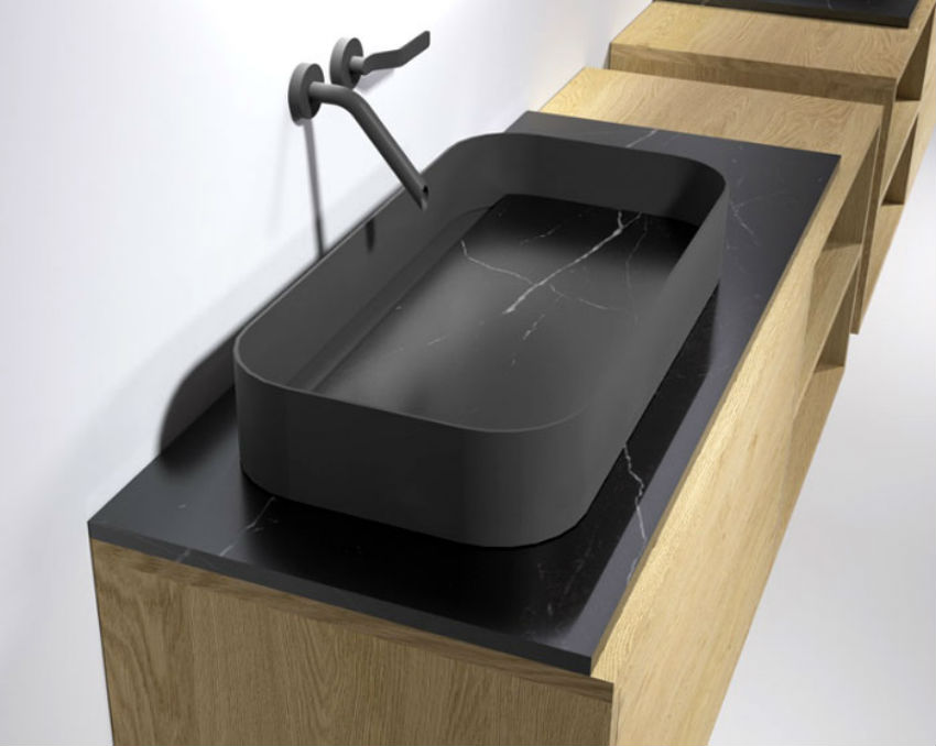 This stainless steel sink coated with gray graphite PVD was created by Piero Lissoni. Image Source: Architonic