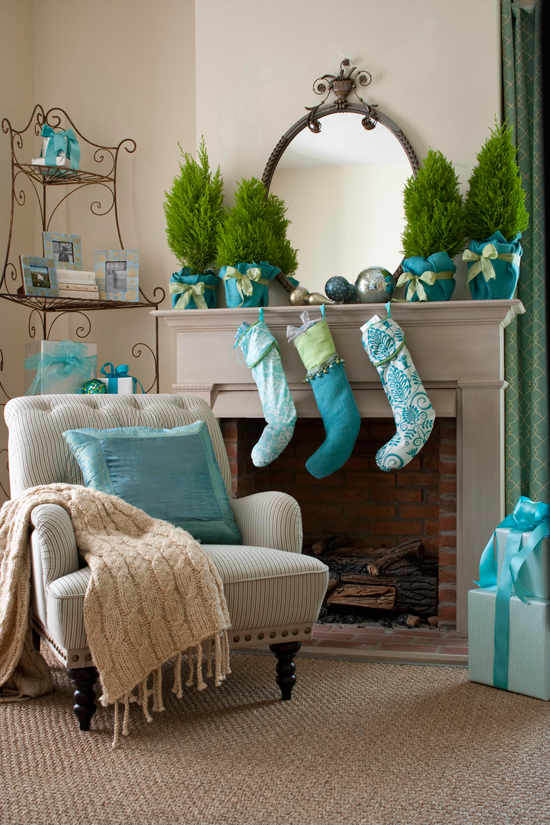 diy-christmas-mantel-teal