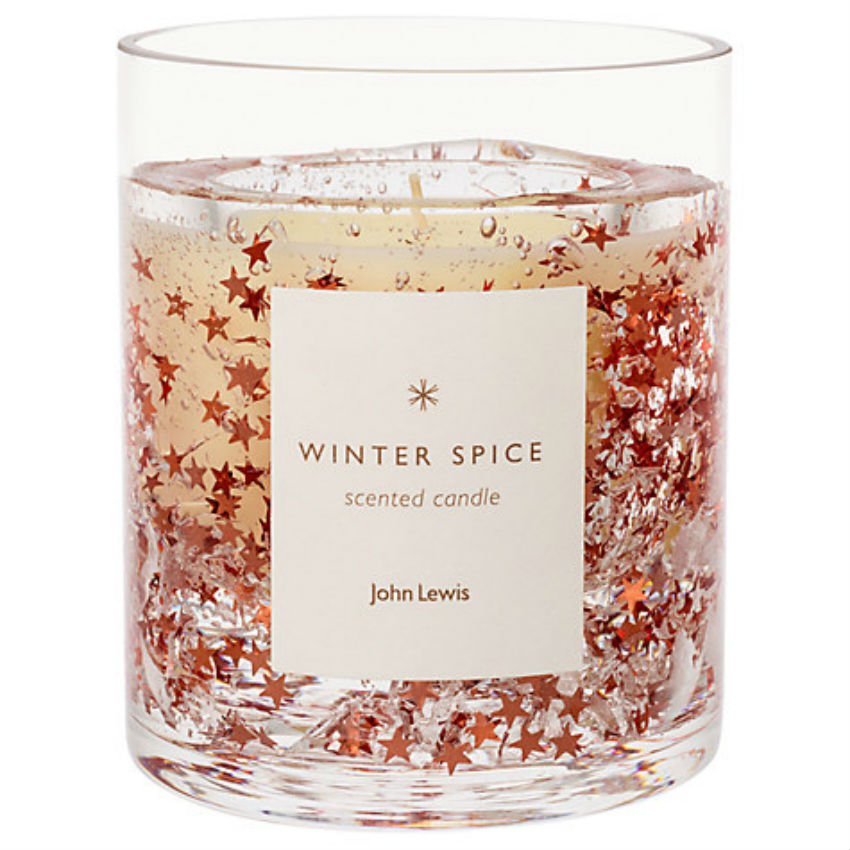 Copper-glitter candles. Image Source: John Lewis
