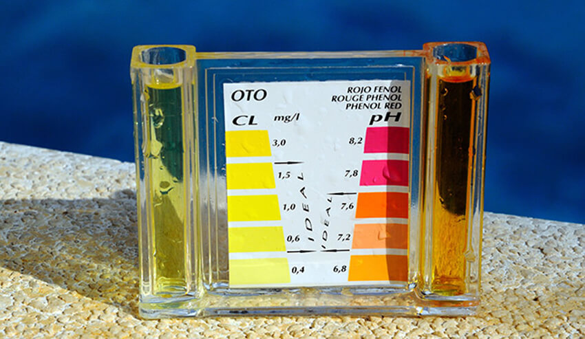 Carefully check the pH levels and other chemical levels of your pool.