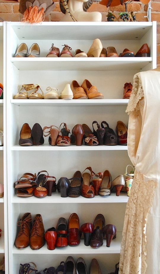 An old bookcase will work great for organizing shoes in your closet
