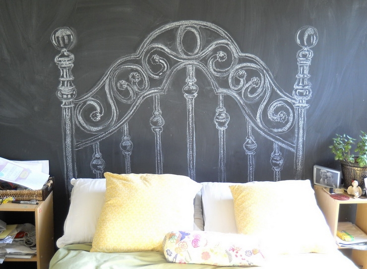 If you have some artistic talent, you can easily draw or paint a headboard onto your wall.