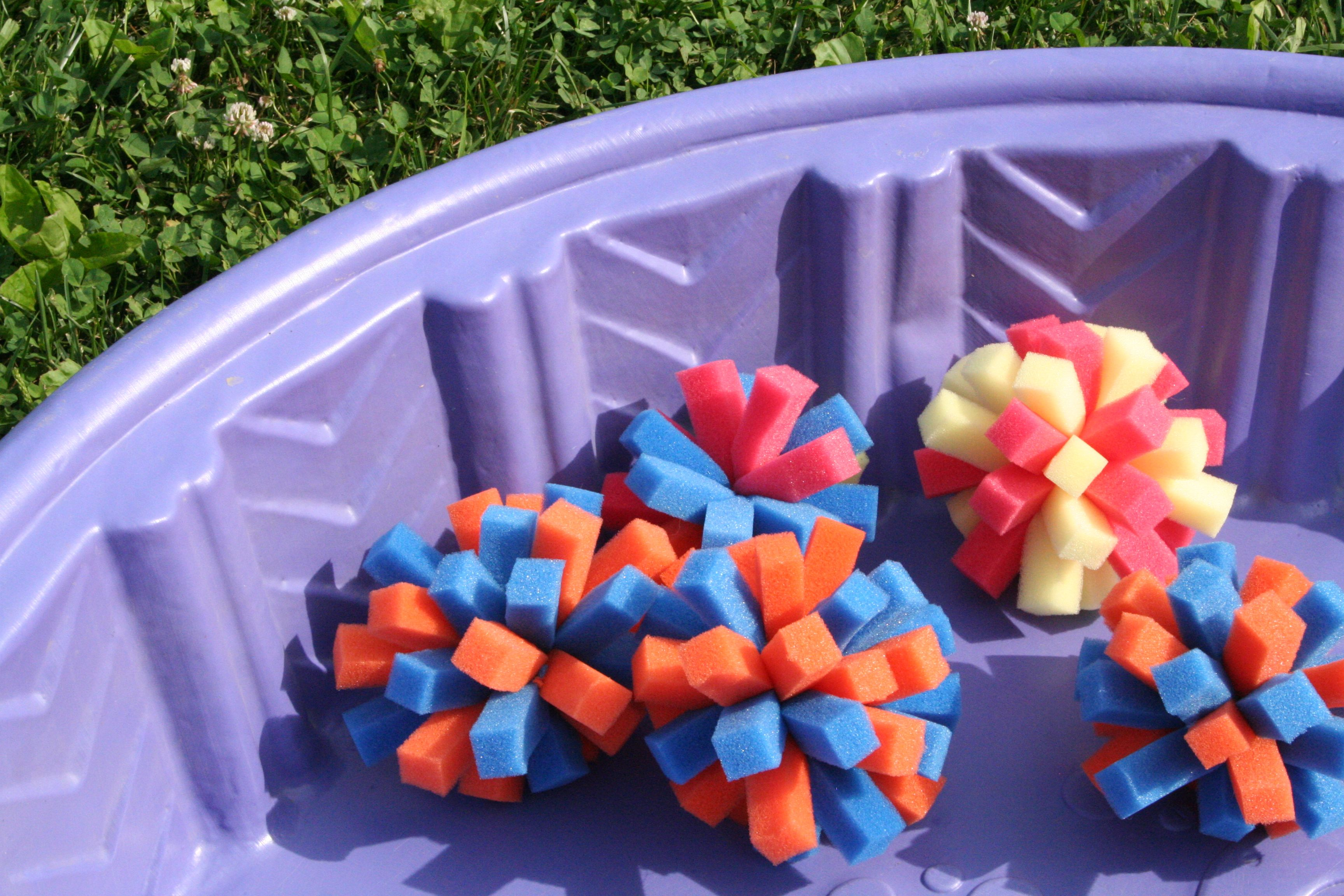 Make your own water toys by using sponges to create fun pool balls!