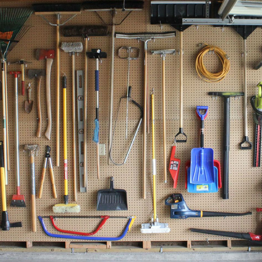 Pegboards are great for gardening tools. Image Source: Matt Baier