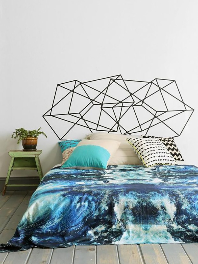 This geometric decal is practical and easy to handle. Via Apartment Therapy.