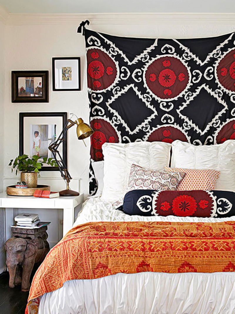 Turn any cool fabric into a tapestry headboard. Via Apartment Therapy.
