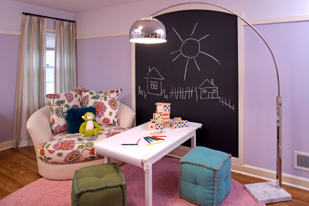 Add an extra level of comfort to your kid's study space by adding soft pillows and chairs.