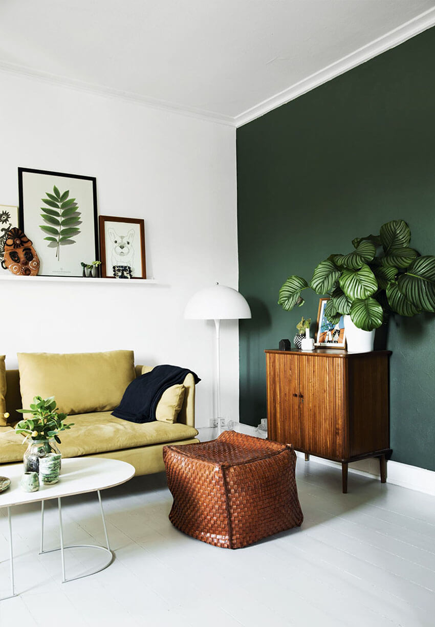 Mix different tones of green with other colorful shades to create an amazing space.