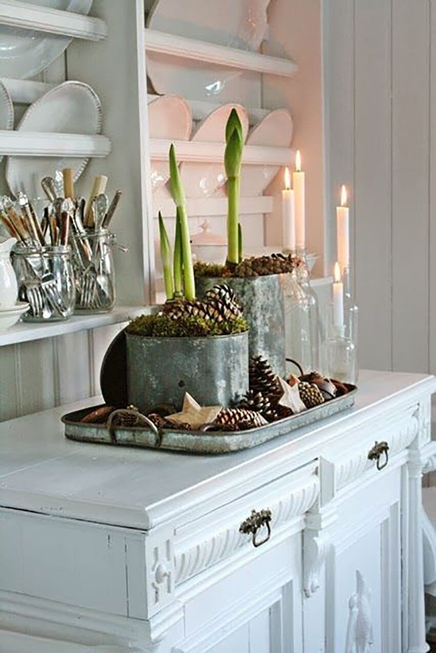 Mix different natural elements to create a beautiful display.
