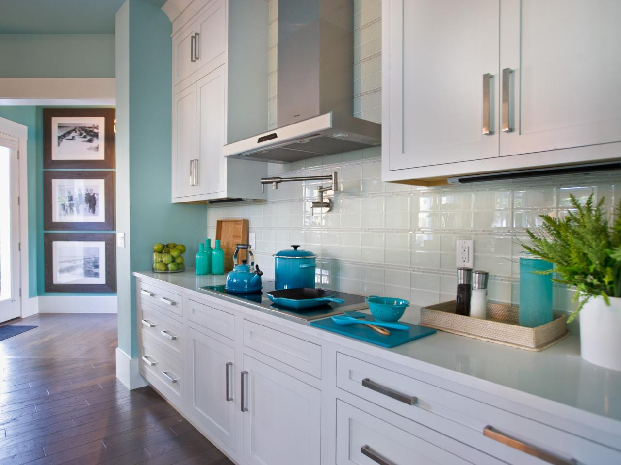 Glass tiles are a modern option that many people are going for. Source: HGTV