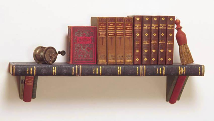 Bookshelf made of books