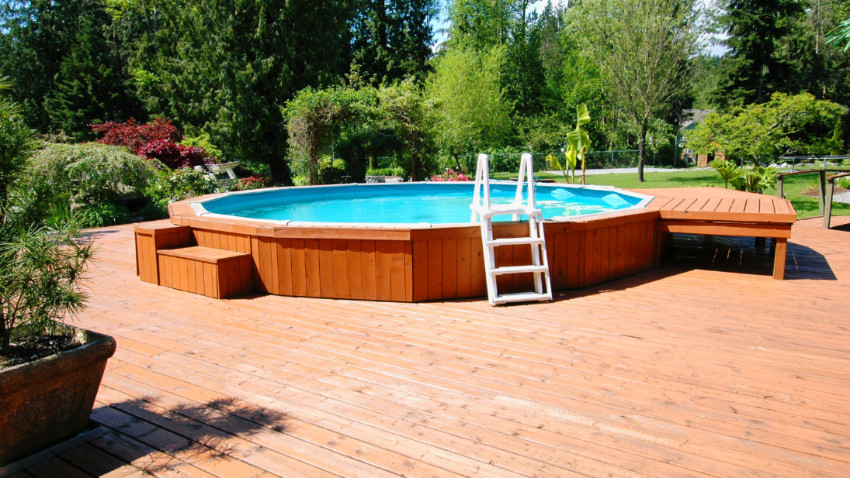 Above ground pools are usually more shallow than inground options. Source: The Spruce