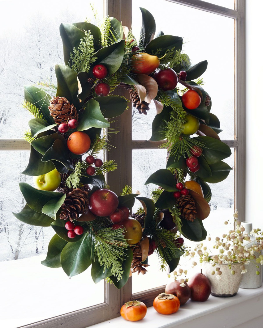 A fruit wreath is perfect for fall! Source: Veranda