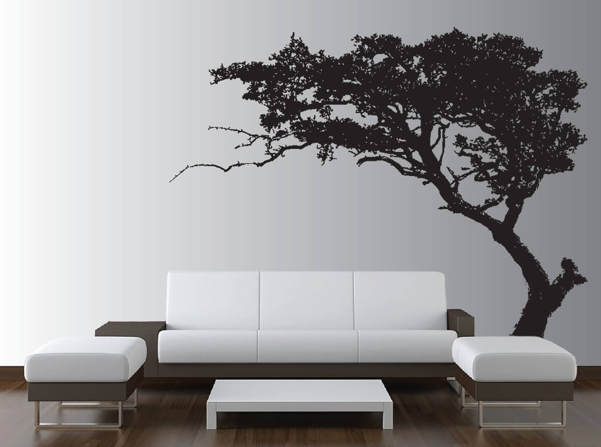 Beautiful wall tree decor to liven up the living room. Source https://www.innovativestencils.com/large-wall-tree-decal-forest-decor-vinyl-sticker-highly-detailed-removable-nursery-1131/